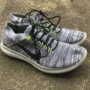 Gray Nike Free and Flexible Flyknit
